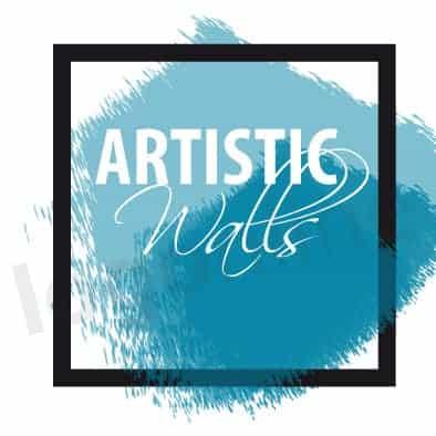 Logo online cornice e pittura, pennellata azzurra. Arte e creatività. Logonline