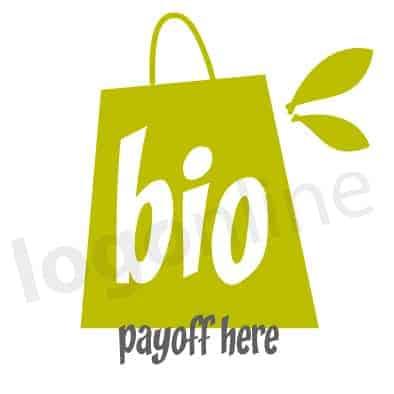 Logo online shopping bag, borsa verde e foglia per prodotti vegani, biologici, vegetariani. Logonline