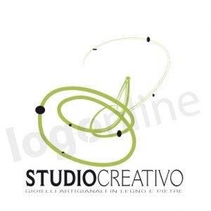 Logo online motivo verde per attività creative, studio creativo, artigianato, gioelli, prodotti artigianali. Logonline