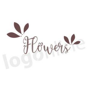 Logo online fiori e foglie, per negozio fiori e piante, prodotti naturali. Logonline