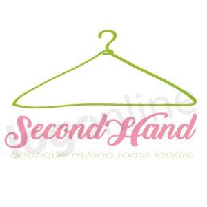 Logo online appendiabiti grucia verde per settore abbigliamento bambino o usato. Logonline