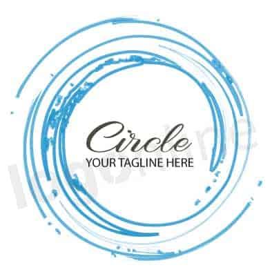 Logo online circolare cerchio azzurro, blu. Design minimal, geometrico. Logonline