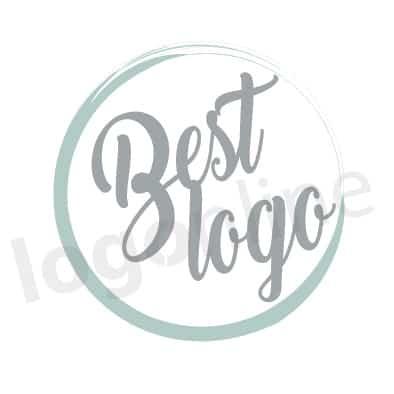Logo online circolare con pennellata azzurra e scritta in stile calligrafia a mano. Logonline
