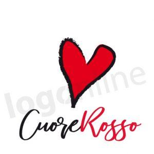 logo online da personalizzare con cuore rosso, scritta nero e rosso in corsivo. Font calligrafia, script. Logonline
