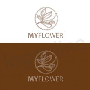 Logo foglie stilizzate, marrone e bianco, prodotto naturale artigianale. Logonline