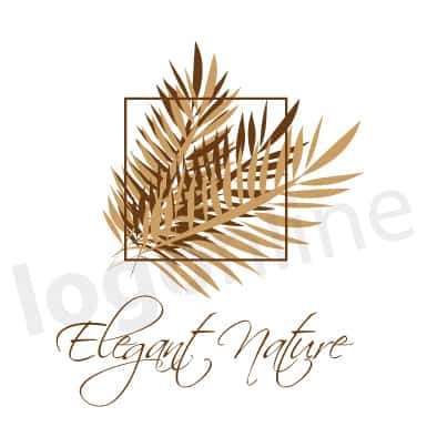 Logo con foglie marroni palme, stile tropical, per prodotti naturali. Logonline