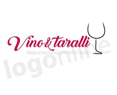 Logo online calice di vino per wine bar. locale degustazione prodotti tipici, bar, enoteca. Logonline