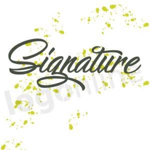 Logo online a firma, con schizzi colore vernice verde. Logonline