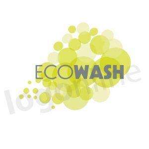 Logo online con bolle e acqua color verde, per lavanderie, pulizia, prodotti eco. Logonline