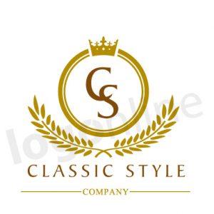 Logo online classico con corona e alloro, logo per prodotti e servizi tradizionali, di qualità. Logonline