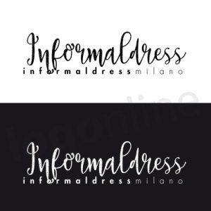 Logo online in bianco e nero. Font originale e informale. Logonline