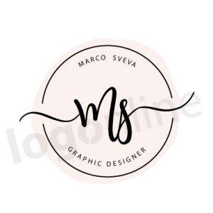 Logo online da personalizzare circolare rosa cipria. Testo centrale in corsivo, font script-calligrafia. Logonline