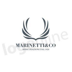 Logo con stemma alato a un colore, classico, tradizionale. Logonline