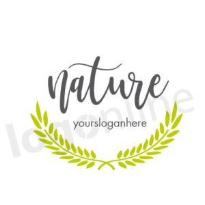 Logo corona di foglie verdi, da personalizzare. Logo prodotti naturali, biologici, wellness. Logonline