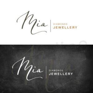 Preventivo logo con firma personalizzata bianco e oro. Per gioielleria, boutique, beni preziosi. Logonline