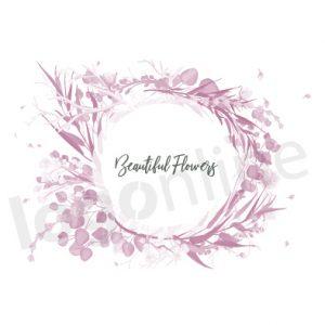 Logo floreale bianco e rosa, colori delicati e ricca corona di fiori e foglie acquerellati. Logonline
